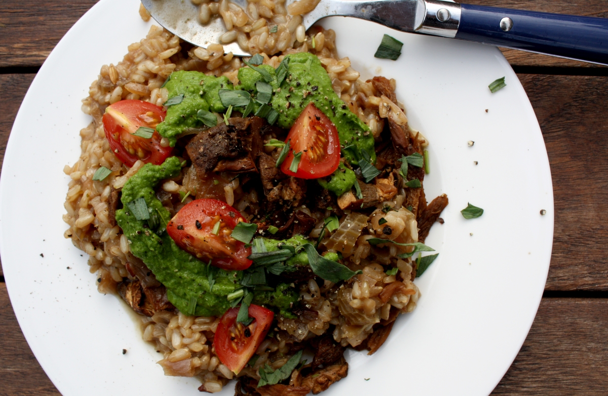 Mushroom Brown Rice Risotto with Pea and Spinach Puree