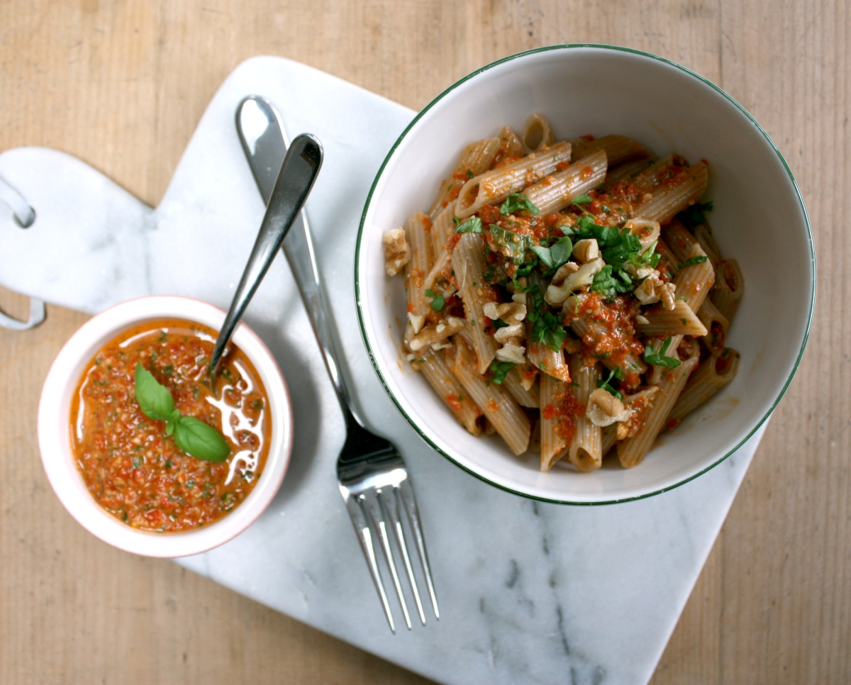 Red Pepper Pesto with Brown Rice Pasta